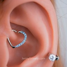 Find more at Pinterest-anichamola  Daith Piercing Bendable Heart Daith Piercing Ring 16g 10mm