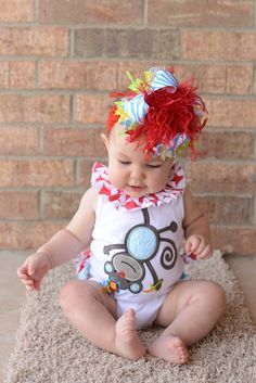 Red Turquoise Lime Yelow Zebra Circus Over The Top Boutique Hair Bow M2M Mud Pie on Matching Headband Free Shipping On All Addional Items. $18.00, via Etsy.
