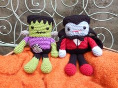 Amigurumi Crochet Pattern.    Frankie and Draco are two colorful Halloween monster dolls sure to brighten up your Fall. But these lovable rogues