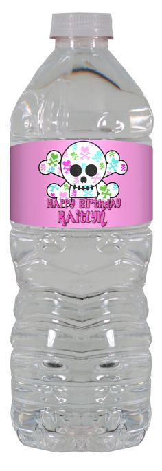 Girly Skull personalized water bottle labels – worldofpinatas.com