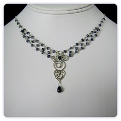 Magdelene Necklace - Sterling Silver Filigree with Blue Sapphires $365