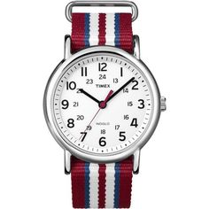 Timex Weekender 'Central Park' Red, blue, and white striped