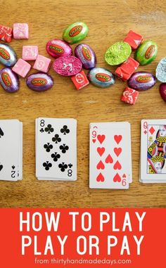 Looking for family card games? Try this one called Play or Pay. players, a deck of cards and some candy is all you need. Family Card Games, Fun Card Games, Christmas Games For Family, Card Games For Kids, Family Fun Night, Christmas Party Games, Best Card Games, Best Family Games, Games For Parties