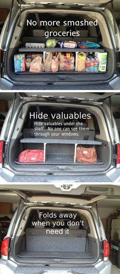 diy car accessories DIY Pop-Up Trunk Shelf. Pop Up, Car Hacks, Hacks Diy, Jeep Hacks, Car Cleaning, Cleaning Hacks, Uber Car, Car Accessories Diy, Motorhome Accessories