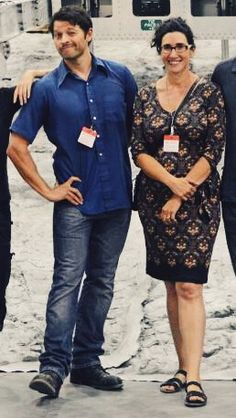 Misha and his wife. I love this! Lol. Why? She's a REAL woman! Look at her hips!