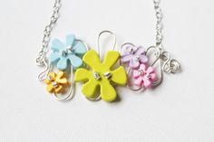Pastel Flower Necklace Pink Blue Yellow Lime by jenniflairjewelry