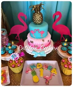 Pink Flamingo Party, Flamingo Cake, Flamingo Birthday, Barbie Birthday, Luau Birthday, Summer Birthday, 2nd Birthday Parties, Luau Cakes, Party Cakes