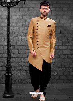 Shop beige indo-western mens short sherwani , freeshipping all over the world , Item code Kurta Pajama Men, Kurta Men, Mens Sherwani, Sherwani Groom, Wedding Dresses Men Indian, Wedding Dress Men, Wedding Outfits, Wedding Men, Pakistani Dresses