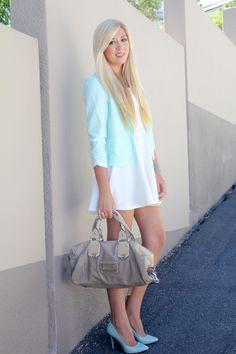 Mint blazer | White skater dress | Mint heels | Guess handbag
