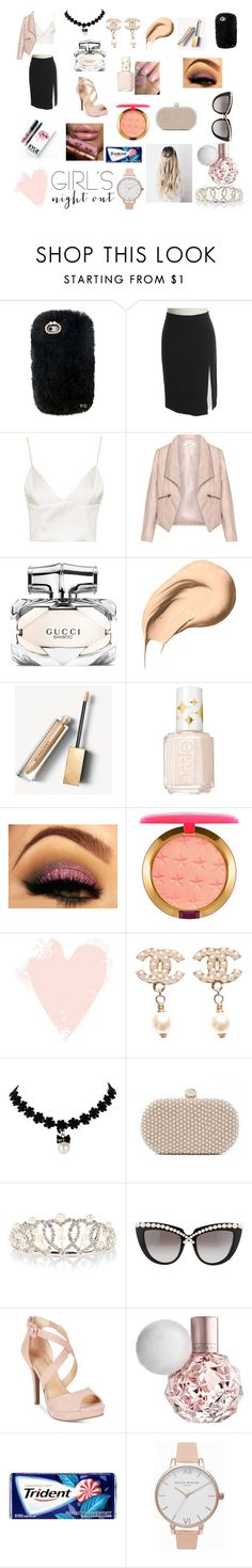 """Girls Night Out!"" by fabsim on Polyvore featuring Etro, Topshop, Zizzi, Gucci, Bobbi Brown Cosmetics, Burberry, Essie, MAC Cosmetics, Chanel and Santi"