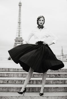 black and white, skirt and blouse. via dustjacket attic