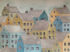 Stacked Village Houses watercolor and gouache by plumwaterdesigns, $25.00