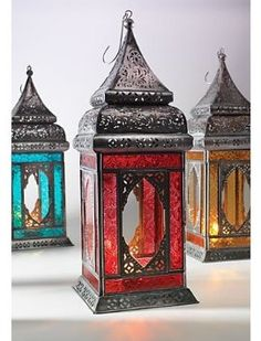Amazon.com: India Moroccan Style Indian Glass Lantern Red: Home  Kitchen