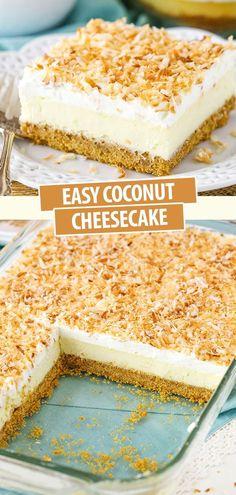 Coconut Cheesecake, Coconut Desserts, Coconut Recipes, Cheesecake Recipes, No Bake Desserts, Vegan Desserts, Yummy Recipes, Delicious Desserts, Dessert Recipes