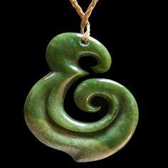 Maori Style Flower Jade Koru Pendant by New Zealand Maori artist Hepi Maxwell