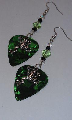 Green Tree Frog Guitar Pick Earring by dragonflydesignsbykris.com, $13.00
