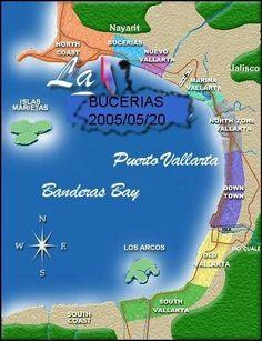 West Coast of Mexico Map. Specifically Bucerias Puerto Vallarta and Banderas Bay. Martoca Beach Garden best wedding venue in Bucerias and Vallarta area