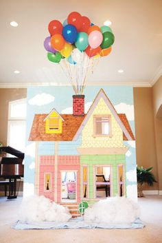 """The """"Up"""" house made by my son for his daughter's 2nd birthday party!"""