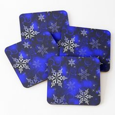 """Royal Blue Snowflake Motif"" Coasters (Set of 4) by HavenDesign 