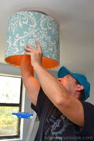 While They Snooze: How to Cover an Ugly Light Fixture Light Covers, Pendant Lamp, Being Ugly, Light Fixtures, Diy Projects, Ceiling Lights, Crafty, Make It Yourself, Inspiration