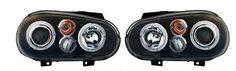 VW Golf Mk4 98-04 Black Angel Eye Headlights Lighting Lamp Spare Part Excl Fog