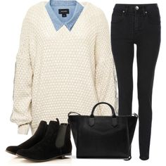 simple autumn fall style - denim shirt with knitwear, cute bootites