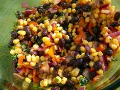Black bean, corn salad - Rachel Ray  Tried it tonight on taco salad. Delicious!