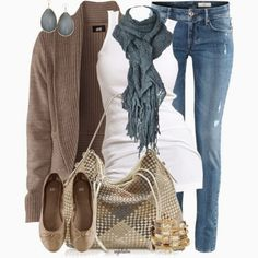 Casual Fall Outfit With Brown Cardigan,Lace Scarf and Casual Jeans