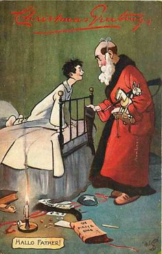 Christmas Santa Claus 1910 In the Nursery Hallo Father Tuck Oilette Postcard Price: $15.99