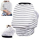 #8: Chalier Nursing Breastfeeding Cover Scarf - Baby Car Seat Canopy - Soft Carseat Canopy Cover - Shopping Cart Stroller Carseat Covers - Multi Use Infinity Stretchy Shawl (Gray & White Stripes)