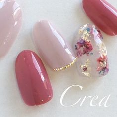 押し花ネイル♡|ネイルデザインを探すならネイル数No.1のネイルブック Elegant Nail Designs, Red Nail Designs, Elegant Nails, Cute Nails, Pretty Nails, My Nails, Korean Nail Art, Kawaii Nails, Bride Nails