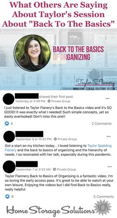 What others are saying about Taylor's session about Back to Basics, in the Get Organized HQ {more information on Home Storage Solutions 101}