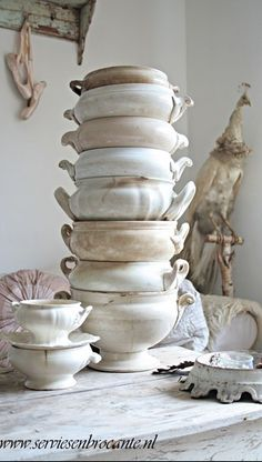 Large Collection of Vintage Ironstone Soup Tureens - via Servies en Brocante Vibeke Design, White Dishes, White Pitchers, French Farmhouse, French Country, Vintage Country, French Style, French Cottage, Country Charm