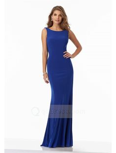 Bateau Neck and Cowl Back Sheath Long Jersey Prom Dress with Beaded Criss-Cross
