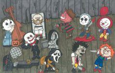 Horror Cartoon, Horror Movies Funny, Horror Movie Characters, Horror Icons, Scary Movies, Halloween Horror, Halloween Art, Scary Wallpaper, Horror Artwork