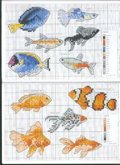 Fish Cross stitch pattern clownfish dory nemo koi goldfish betta fish siamese fighting fish
