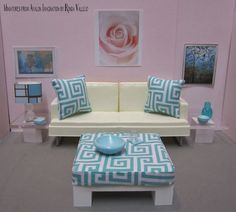 reserved for gfury5 16th scale ottoman with wood base and upholstered cushioned top for barbie blythe etc aqua and white graphic print barbie furniture ideas