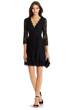 The younger sister of our popular DVF Julianna lace wrap, the DVF Julita brings a shorter flared skirt that's perfect for the fall party circuit. Scalloped lace detail at hem and neckline. Fully lined in jersey. 3/4 sleeve. Falls to mid-thigh.