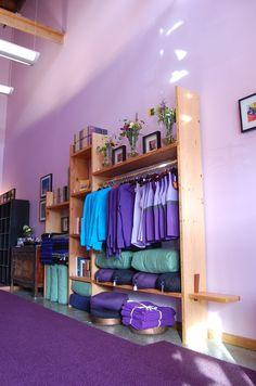 Yoga studio merchandise displays And Bookcases