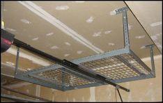 Completed overhead garage rack