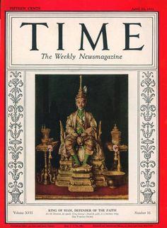 17 No. April 1931 - King Prajadhipok of Thailand Thailand, King Rama 9, Queen Sirikit, Bhumibol Adulyadej, Great King, Time Magazine, Magazine Covers, Old Newspaper, King Of Kings