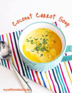 Easy-to-make 100% vegan Coconut Carrot Soup. Ginger adds that little extra spice to really hit the spot! Try making it! :)