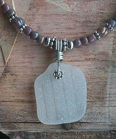 "Sea Glass Jewelry Necklace 18"" Handmade BEACH Hawaii rare White Pattern Beaded #SeaGlassSunshineHandMade #Pendant"