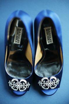 Blue Badly Mischka bridal shoes