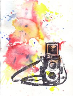 Retro Vintage Art Rolleiflex Camera Watercolor Painting - Original Watercolor Painting on SALE NOW. $30.00, via Etsy.