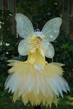 Oro amarillo Vestido de hadas traje de hadas vestido de