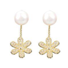 Sweet daisy flower pearl zircon ear stud earrings women jewelry earrings for kids #collette #z #earrings #earrings #925 #china #earrings #red #earrings #under #$5