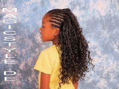 Kinderfrisur - Josie: Cornrows kombiniert mit Open Braids aus lockigem T...