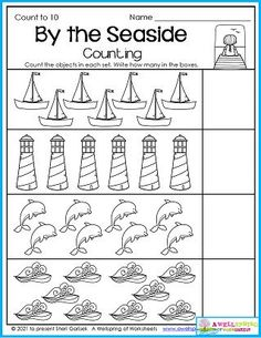 Kindergarten counting worksheets for the month of July include awesome summer and 4th of July themes. Please check them out. :) Counting Worksheets For Kindergarten, Summer Worksheets, Graphing Worksheets, Alphabet Tracing Worksheets, Writing Lines, Upper And Lowercase Letters, Business For Kids, Number, Awesome