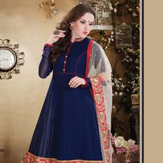 #Blue Faux Georgette Readymade #Anarkali Churidar Kameez